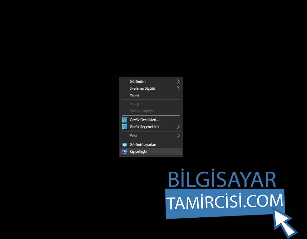 Windows 10 Renk Değiştirme için masaüstü sağ tuş kişileştirme ayarlarını açınız.