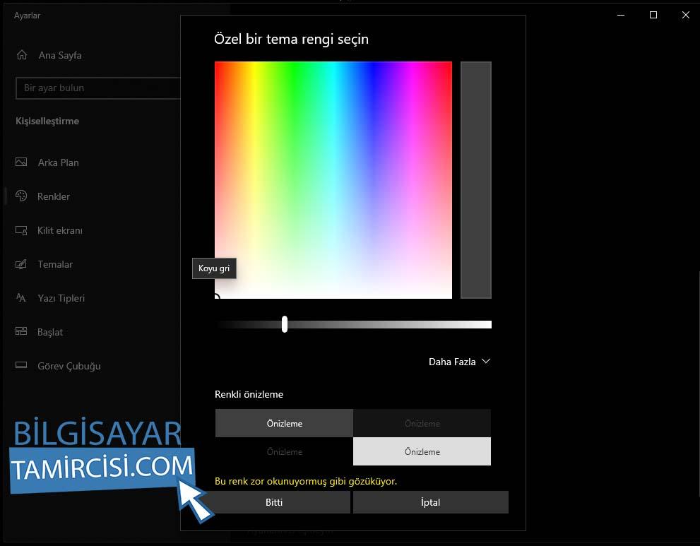 Windows 10 Renk Değiştirme Özel Renk butonuna basarak dilerseniz kendi özel renginizi ayarlayabilirsiniz.