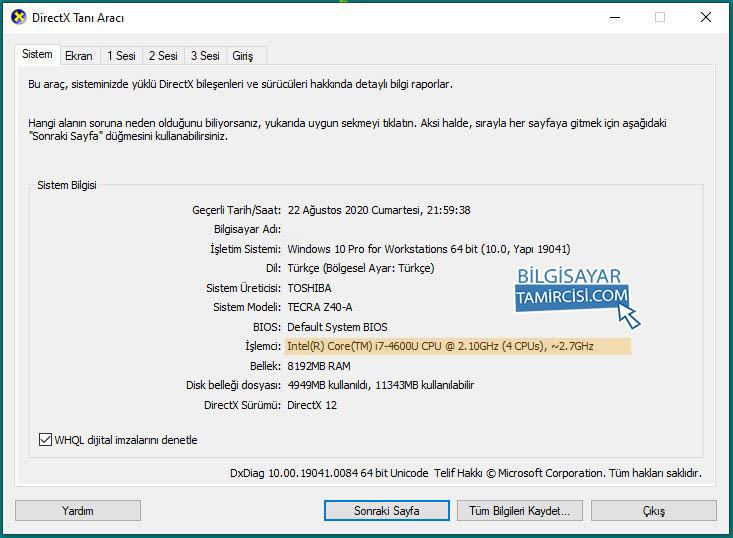 dxdiag işlemci hızı öğrenme yönteminde dxdiag kutusunda sistem altında işlemci hızınızı ve detaylarını öğrenebilirsiniz.