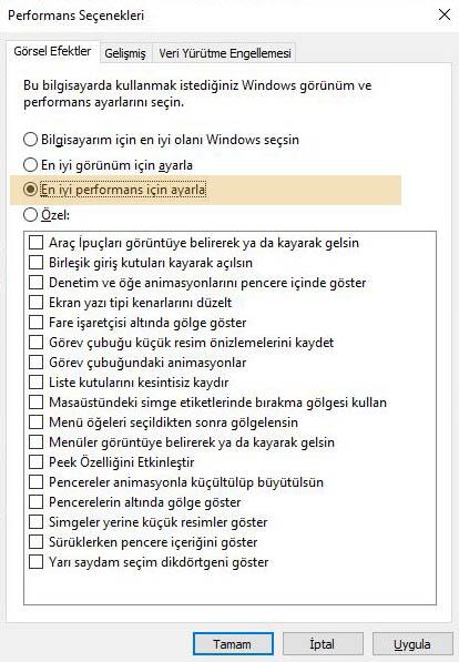En iyi performans için ayarla Windows 10 hızlandırma yöntemlerinden birisidir.