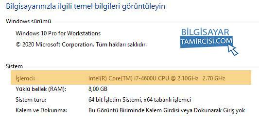 Windows işlemci hızı öğrenme yöntemlerinden en kolayı sistem özellikleri penceresini açarak çğrenmektir.