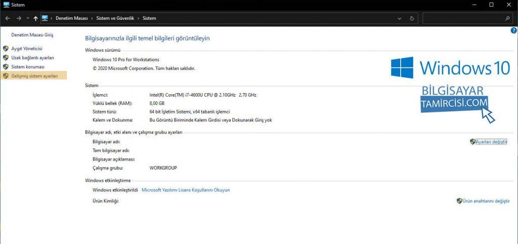 Windows 10 performans artırma için sistem ayarlarından en iyi performans için ayarla yöntemi