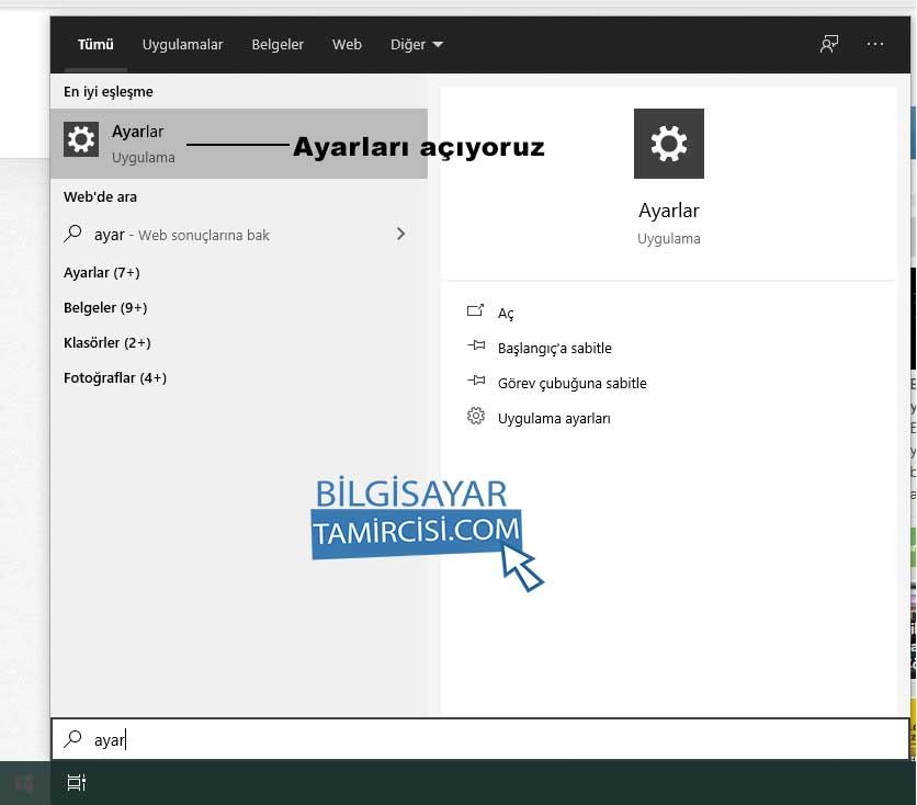 windows 10 etkinleştirme ayarlar yazarak windows 10 ayarlar sayfasını açıyoruz