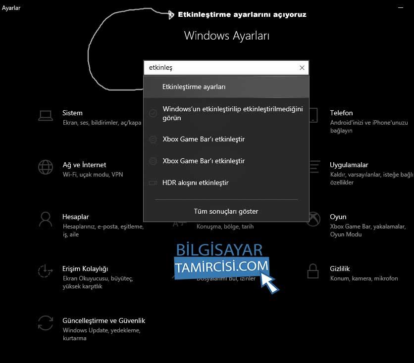 windows 10 etkinleştirme ayarları yazarak windows etkinleştirme sayfasını açıyoruz