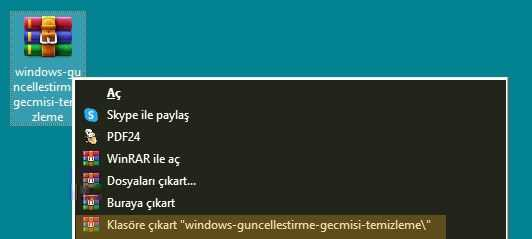 Windows güncelleştirme geçmişi temizleme rar dosyasından çıkartıp içindeki bat dosyasını yönetici olarak çalıştırmanız yeterlidir.