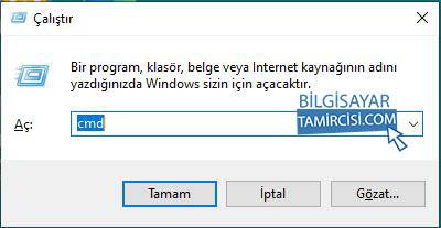 Windows + R kısayolu ile açtığımız çalıştır kutusuna CMD yazarak komut istemini açıyoruz.