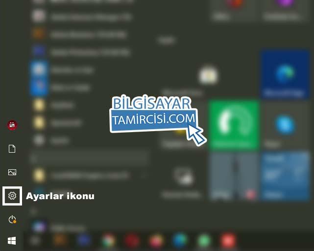 Windows 10 internet paylaşımı için başlat menüsü ayarlar ikonuna basarak ayarlar sayfasını açıyoruz.
