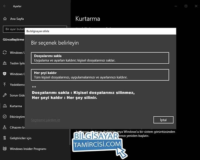 Windows sıfırlama dosyalarım silinir mi ? sorusunun cevabına siz karar vereceksiniz. Dosyalarımı sakla derseniz kişisel dosyalarınız silinmez. Her şeyi kaldır seçeneği ise bütün dosyalarınızı siler.
