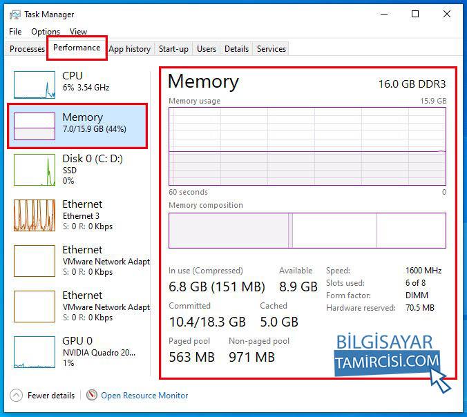 Bilgisayarın ram özelliklerini nasıl görebilirim bilgisayarın ram performansını nasıl takip edebilirim sorusunun cevabı, görev yöneticisi performans kısmından takip edebilir ve ram özelliklerini görebilirsiniz.