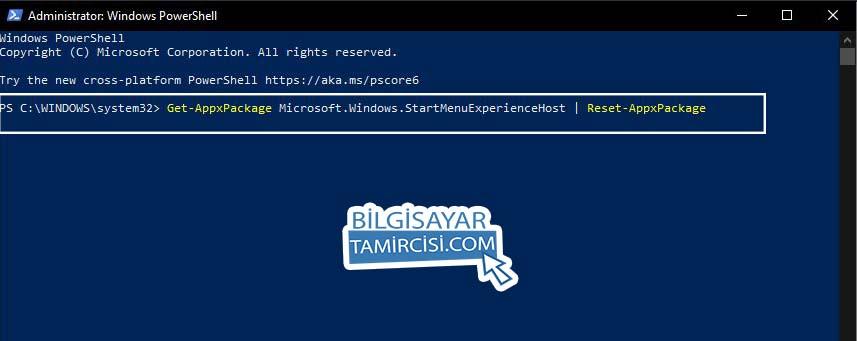 Windows 10 Başlat Menüsü Sıfırlama Komutu ile PowerShell'de Wİndows 10 başlat menüsü ayarlarını sıfırlayabilirsiniz