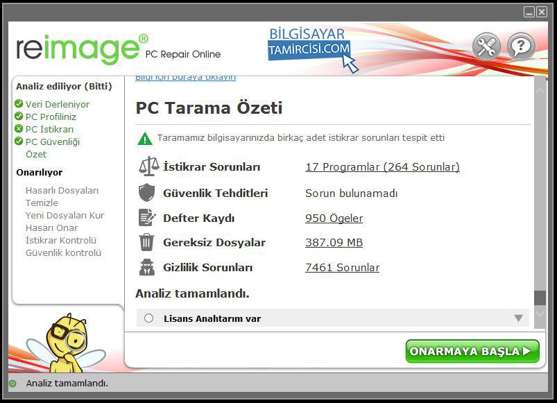 Windows Onarım Programı Sonuç