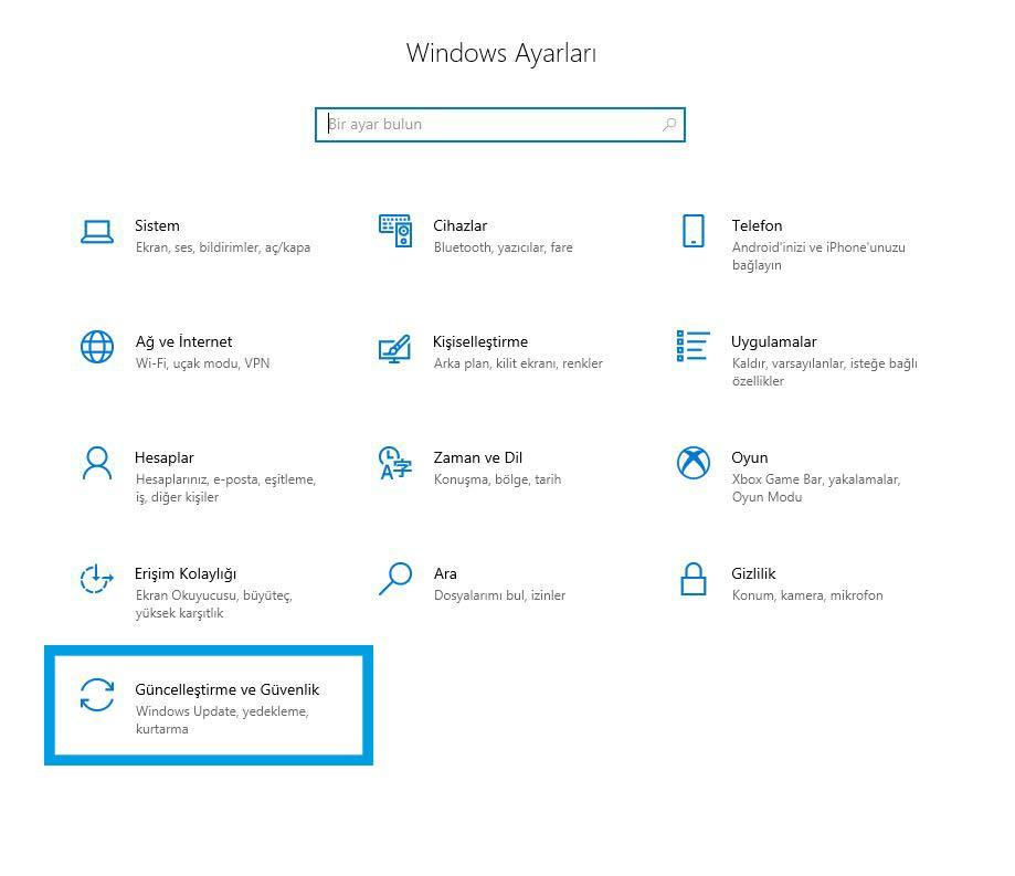Windows 10 arama çalışmıyor çözümü, Ayarlar Güncelleştirme ve Güvenlik ayarlarını açın