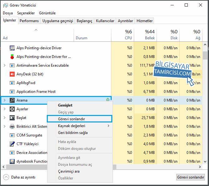 Görev Yöneticisi Arama Görev Sonlandır, Windows 10 arama çalışmıyor sorunu çözüm yöntemleri