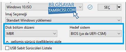 Windows 10 USB belleği MBR mi yoksa GPT olarak mı hazırlayacaksınız ?