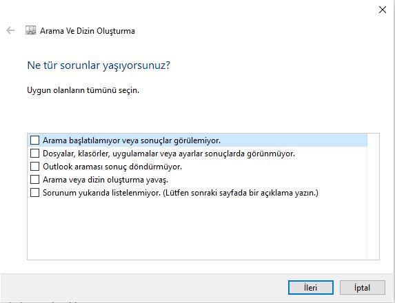 Windows 10 Arama Sorunları Seç