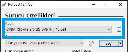 Windows 10 ISO Rufus Programı Boş USB belleğinizi bilgisayarınıza takın
