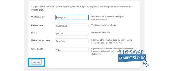 Adım adım wordpress kurulum aşamasında sırada wordpress kurulum veritabanı bilgileri giriş