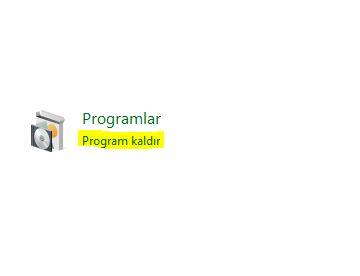 Denetim Masası Program Kaldır, bu seçenek ile bilgisayarınızda kurulu olan programları kaldırabilir ve ya onarabilirsiniz.