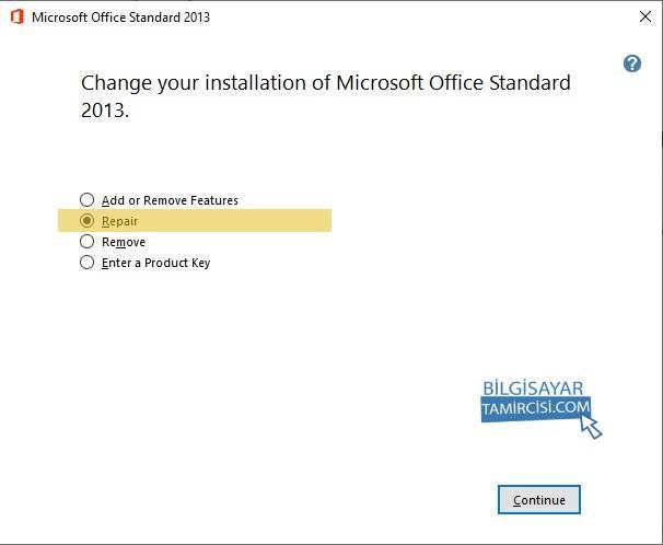 Microsoft Office Onarma Adımları ile sorunlu Office programını onarabilirsiniz.
