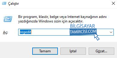 Windows Kayıt Defteri Açma, Window+R tuşları ile çalıştır uygulamasına regedit yazın ve entera basın